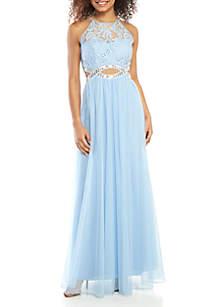 a7560e6393f ... Speechless Beaded Infinity Waist Halter Gown