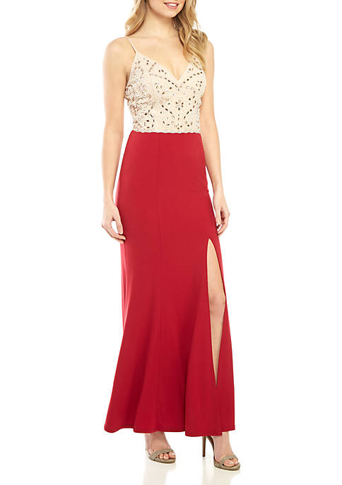 Beaded Mesh Bodice Jersey Gown