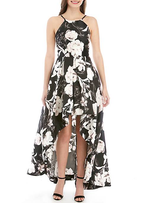High Low Floral Halter Gown