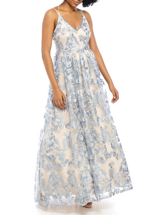 Womens Double Strap Sweetheart Neck Lace Overlay Ballgown