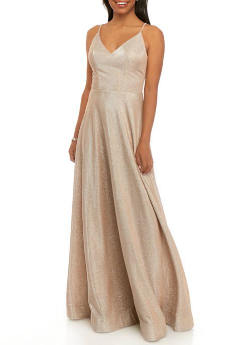 Womens Glitter Knit A Line Gown