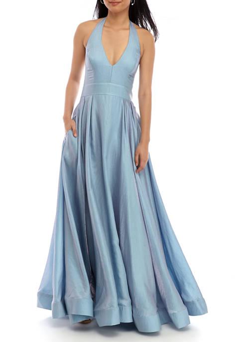 Womens Halter Neck Iridescent Ball Gown