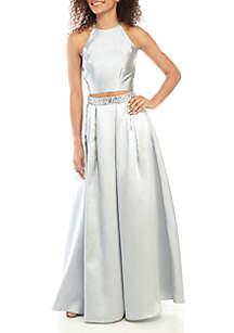Speechless 2-Piece Satin Halter Gown