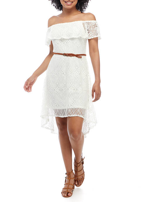 Almost Famous Juniors Off the Shoulder Lace Belted
