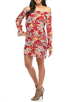 Almost Famous Floral Print Off-The-Shoulder Dress