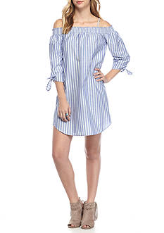 Almost Famous Off The Shoulder Chambray Stripe Shirt