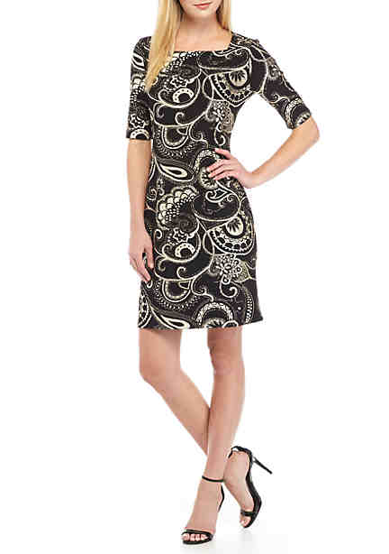 Tiana B Sheath Knit Shift Dress ...