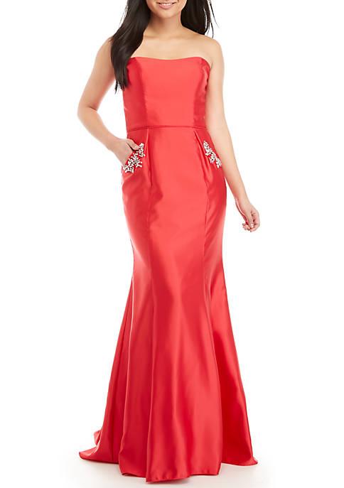 Blondie Nites Strapless Bead Embellished Mermaid Gown
