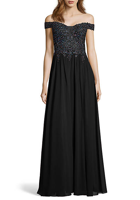 Off the Shoulder Beaded Applique Bodice Chiffon Gown