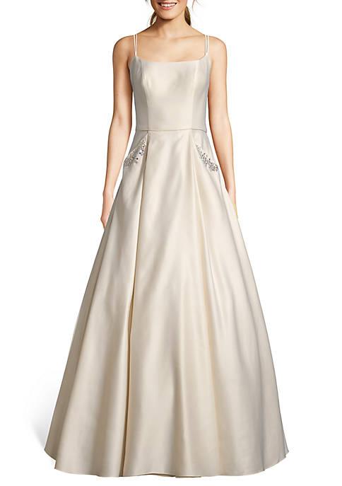 Blondie Nites Bead Embellished Pocket Satin Ballgown