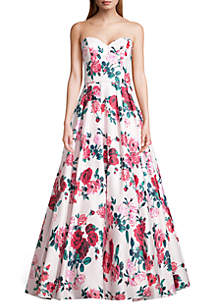 Blondie Nites Strapless Lace Up Back Floral Printed Ballgown