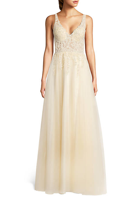 Blondie Nites Beaded Applique Illusion Mesh Bodice Ballgown