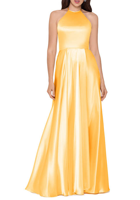 Blondie Nites Womens Halter Satin A Line Gown