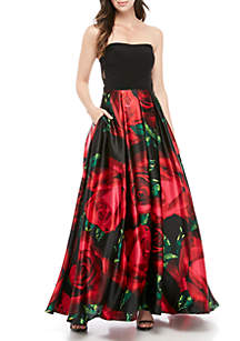 68eff79a923 ... Blondie Nites ITY Top Floral Bottom Gown