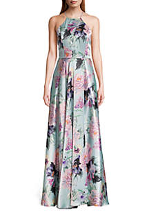8ee8fee3e10f ... Blondie Nites Floral Printed Lace-Up Back Halter Gown