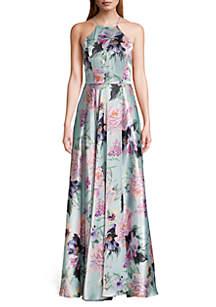 b32191d5791 ... Blondie Nites Floral Printed Lace-Up Back Halter Gown