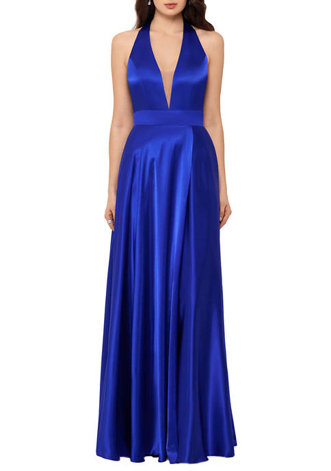 Blondie Nites Womens Halter V-Neck Open Back Gown