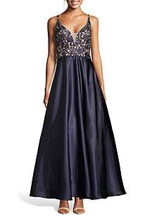ec7024bb Adrianna Papell Sleeveless Long Cowl Neck Gown · Blondie Nites Sequin Lace  Bodice Ballgown