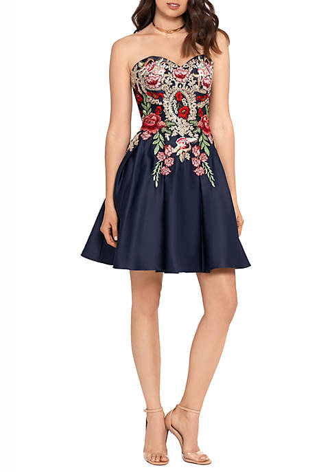 Strapless Embroidered Fit and Flare Dress