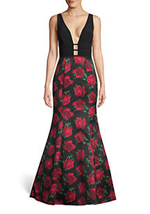 c5ee0dc9db Xscape Strapless Jersey Gown · Blondie Nites Deep V-Neck Satin Floral  Mermaid Gown