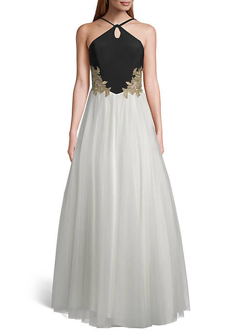 Blondie Nites Beaded Applique Bodice Mesh Ballgown