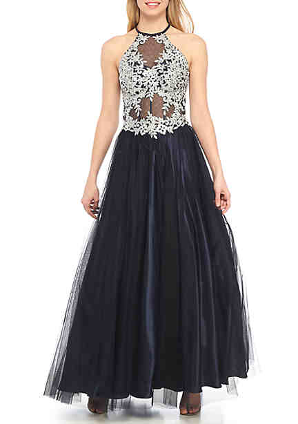 Blondie Nites Bead Embellished Embroidered Illusion Mesh Bodice Ball Gown