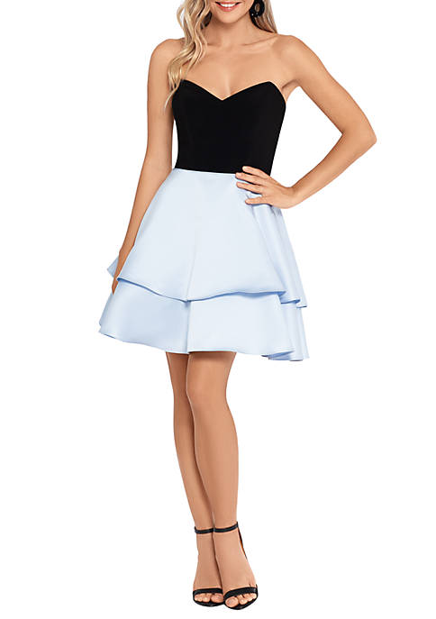 Strapless 2 Tone Fit and Flare Dress with Side Bows