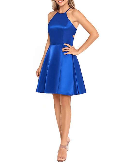 Halter Neck Satin Strappy Back Fit and Flare Dress