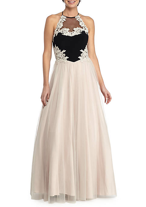 Blondie Nites Embroidered Bodice Mesh Gown