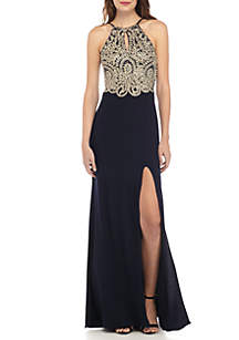 Beaded Embroidered Bodice Halter Gown