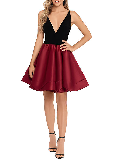 Blondie Nites Sleeveless Satin Bottom Fit and Flare