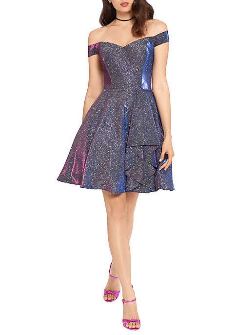 Off The Shoulder Sparkle Fit and Flare Dress