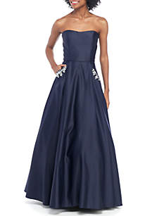d06d04bf7c ... Blondie Nites Strapless Satin Embellished Pocket Ball Gown