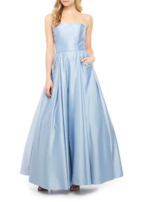 Strapless Satin Embellished Pocket Ball Gown