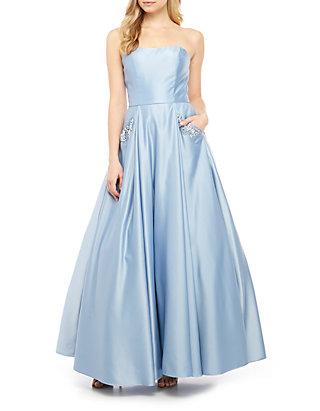 c2907cd57 Blondie Nites Strapless Satin Embellished Pocket Ball Gown   belk