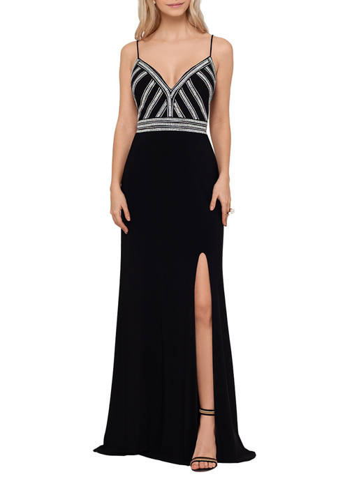 Womens Sleeveless Beaded Top Gown
