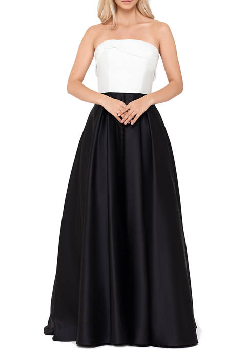 Blondie Nites Womens Strapless 2 Tone Ball Gown