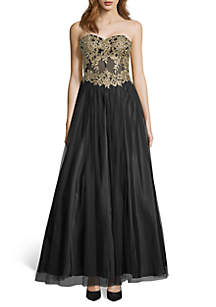 Blondie Nites Strapless Bead Embellished Embroidered Mesh Ball Gown