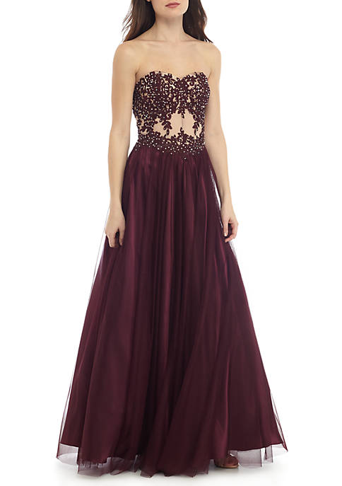 Strapless Bead Embellished Embroidered Mesh Ball Gown