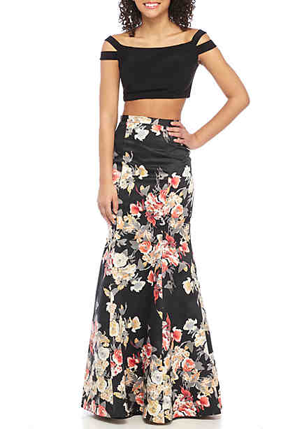 Blondie Nites Two-Piece Gown Off the Shoulder Top with Floral Mermaid Skirt  ...