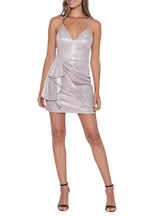 V-Neck Side Flounce Faux Wrap Sparkle  Dress
