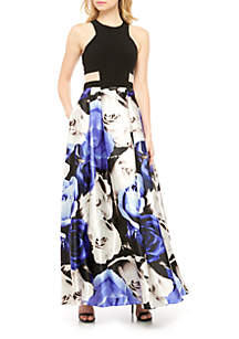 Blondie Nites Halter Long ITY Printed Cutout Sides Dress