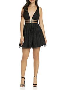 Sleeveless Glitter Dot Illusion Waist Dress