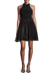 Halter Fit and Flare Glitter Dot Dress
