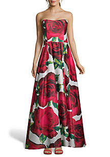 Blondie Nites Strapless Floral Printed Ballgown
