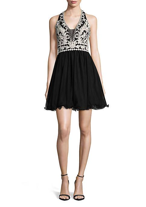 Blondie Nites Embroidered Bodice Halter Dress