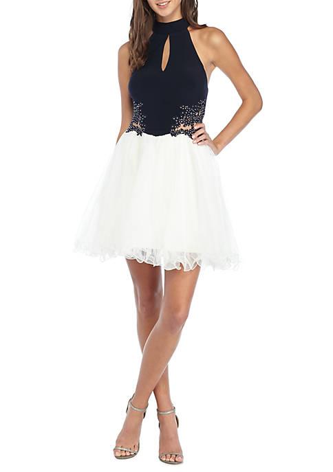 Dear Moon Sequin Lace Bodice Cocktail Dress   belk