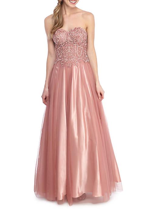Blondie Nites Strapless Lace Corset Gown | belk