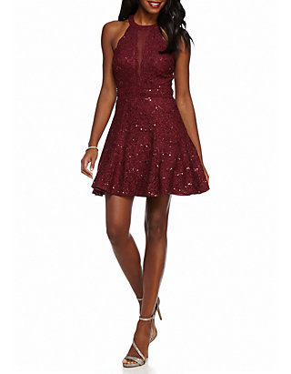 cd880983e2d Nightway Glitter and Sequin Lace Cocktail Dress