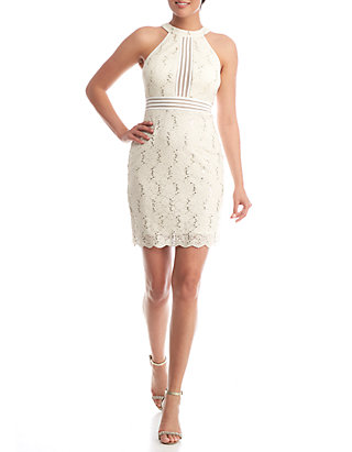 7ff4b56efea Nightway Lace and Sequin Halter Cocktail Dress